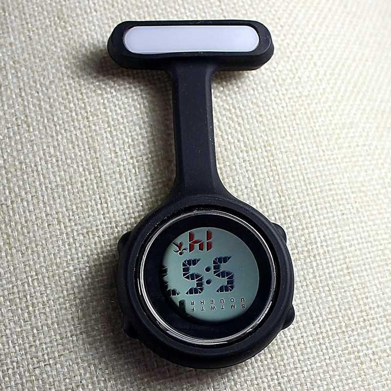 Часы для медсестры карманные часы силиконовые электронные светящиеся календарь желе часы модный тренд - Цвет: Черный