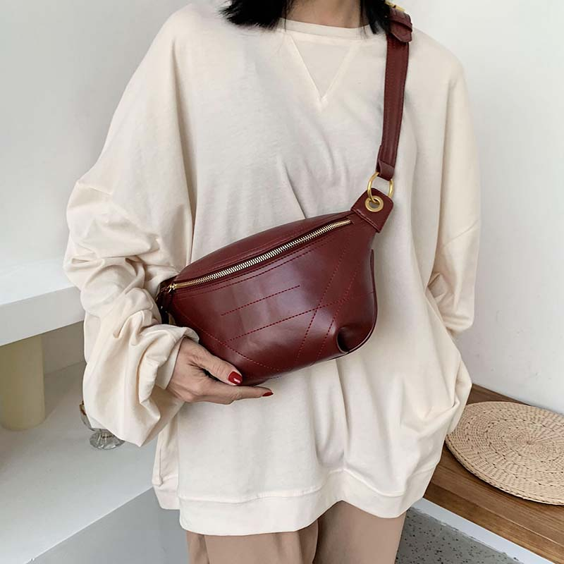 Solid Color PU Leather Crossbody Bags For Women 2020 Quality Chain Shoulder Messenger Bag Lady Travel Handbags Waist Packs