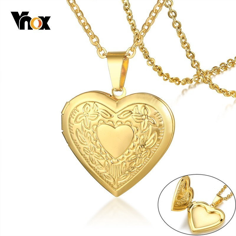 Vnox Women Heart Locket Necklace Stainless Steel Photo Frame Memory Romantic Love Pendant for Female Promise Keepsake Gift