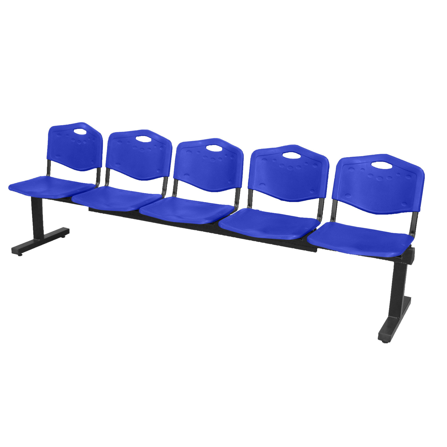 Bench Waiting Five Seater And Iron's Structure In Black Color Up Seat And Backstop In PVC Color Blue Taphole And