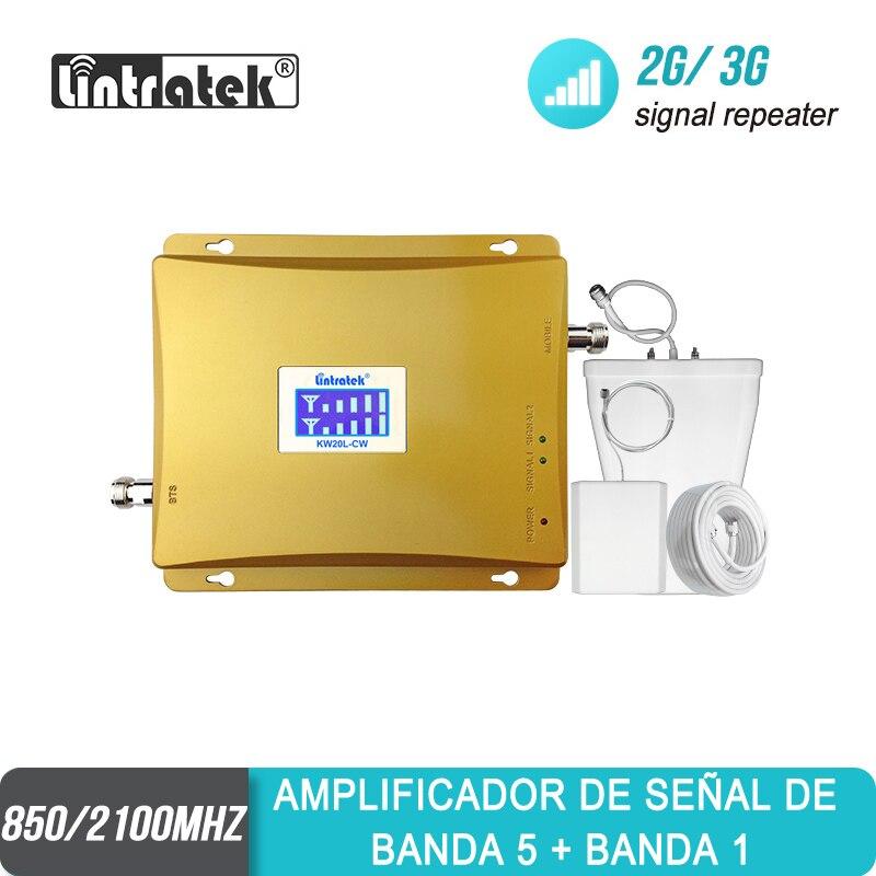 Lintratek Repetidor Celular  GSM 850 3G 2100 Dual Band LCD Display Mobile Phone Amplifier GSM 850mhz Cell Phone Booster Set #30