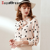 SuyaDream Women Dots Printed Bow Collar Blouses 100% Silk Crepe Long Sleeved Office Blouse Shirt 2019 Office Lady Shirts