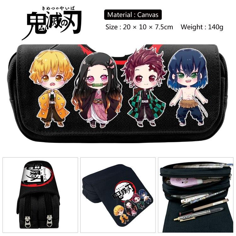 Anime Demon Slayer: Kimetsu No Yaiba Pencil Case Make Up Cosmetic Bag Kamado Tanjirou  Cartoon Multi-function Stationery Bag