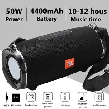 50W Wireless Bluetooth Speaker Outdoor Portable Subwoofer Colum 3D Stereo Soundbar 4000mAh Battery Music 48 hours FM / aux / TF