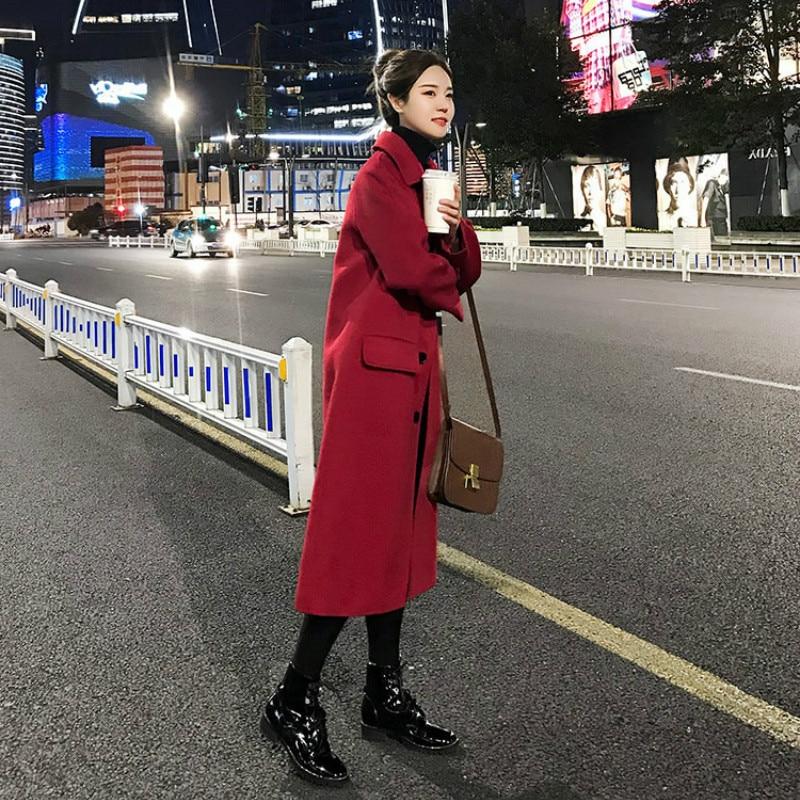 2019 inverno mistura de lã feminino manga longa quente engrossar casaco de lã feminino jaqueta vermelha casual outono inverno elegante casaco yl538 - 5
