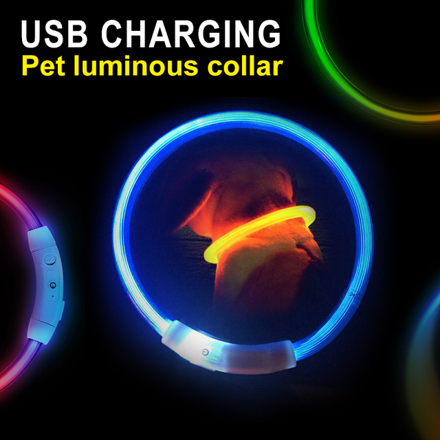 Rechargeable LED Dog Collar with USB 7 Bright Colors  2