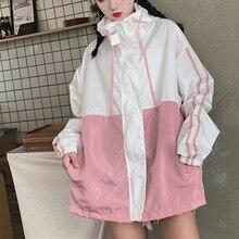 3 Colors Sunscreen Women Zipper Pockets Casual Long Sleeves Coats Oversize Female Hooded Jacket Two Tone Windbreaker Jacket zippered two tone hooded padded jacket