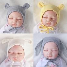 Милый кролик Новорожденный шляпа детская шапочка новорожденный реквизит для фотосъемки дети мальчики девочки Кепка с ушками Детские капот аксессуары для девочек