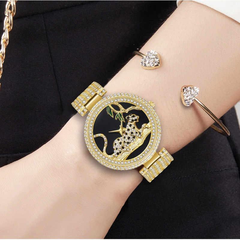 Miss Fox femmes montres Top marque de luxe léopard dames montre femmes brillant diamant argent montres en acier inoxydable femmes horloge