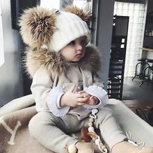 Новое поступление, зимняя вязаная шапочка для девочек, теплая шапка с черепами и шапочками, вязаная шапка, Детская меховая шапка с помпонами для мальчиков и девочек 1-4 лет