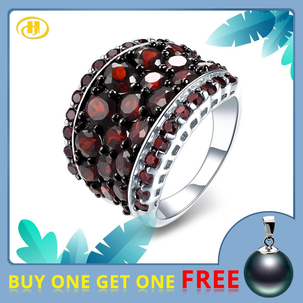 Hutang Silver Garnet Ring 925 Jewelry, Gemstone 5.5ct Red Garnet Pomegranate Rings for Women's Fine Jewelry, Gift for Christmas