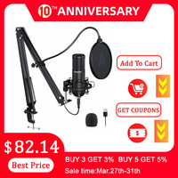MAONO PM420 USB Podcast Microphone 192KHZ/24BIT Condenser Cardioid PC Mic With Professional Sound Chipset For Gaming Streaming