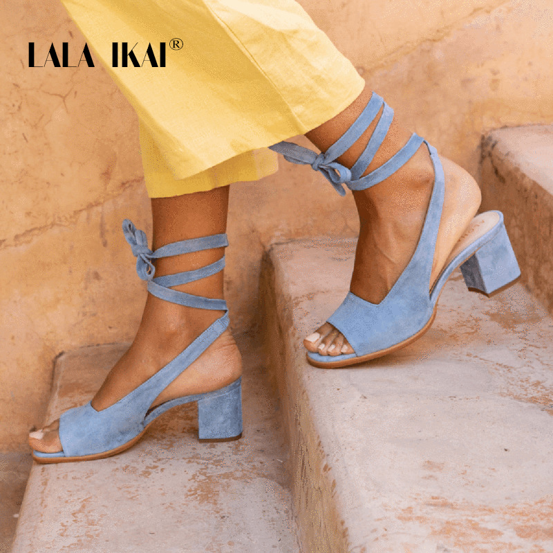 LALA IKAI 2020 Summer Women's Sandals Peep Toe Square High Heels Shoes Plus Size Sexy Lace-up Zapatos De Mujer XWC6786-4