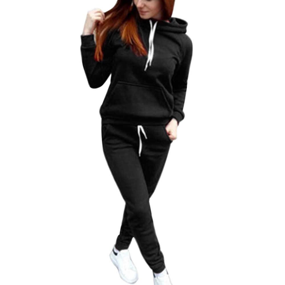 NIBESSER Zwei Stück Frauen Mit Kapuze Sweatshirt Sets Casual Jogger Hoodies und Kordelzug Jogginghose Sets Frauen Herbst Oufit Sets