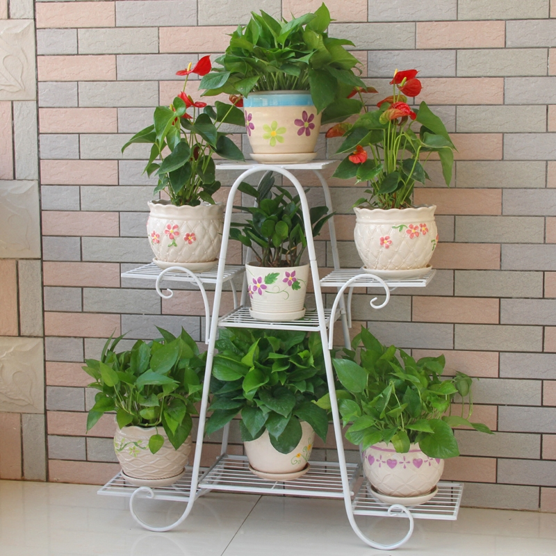 Simple Metal Flower Plant Display Stand Multi-storey Indoor Home Balcony Wrought Iron Living Room Space Flower Pot Floor Rack