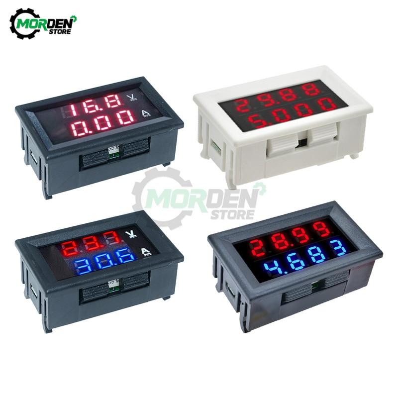 Светодиодный мини-вольтметр, амперметр, 4 бит, 5 проводов, 100 в, 200 в, 10 А, 50 А, 0,28 дюйма