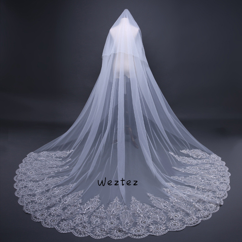 Bridal Veil Real Photos High Quality Cover Face Cathedral Shining Sequined Lace Wedding Veil With Comb TS072