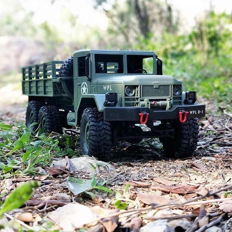 Truk Militer Diy 1:16 4WD RC Truk Militer Nirkabel Remote Control Mobil Mainan Anak-anak Besar Truk Mainan Mainan anak Laki-laki