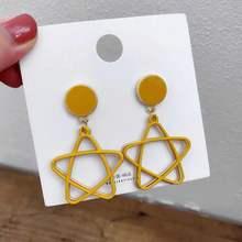 Корейские Модные ажурные серьги с пятиконечными звездами и треугольниками