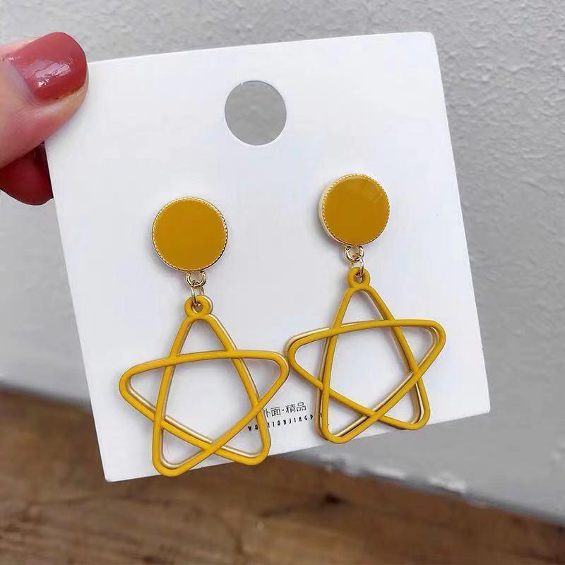 Korean fashion hollow out five pointed star triangle retro geometry Earrings large declaration Earrings women's fashion metal pe