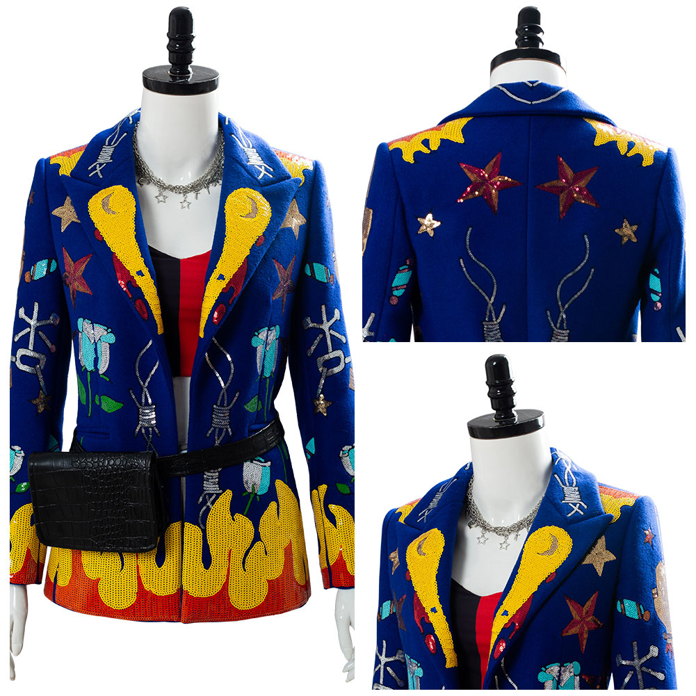 Birds of Prey Harley Quinn Cosplay Costume Adult Blazer Jacket Coat Suit Only Sequins/Bead Version