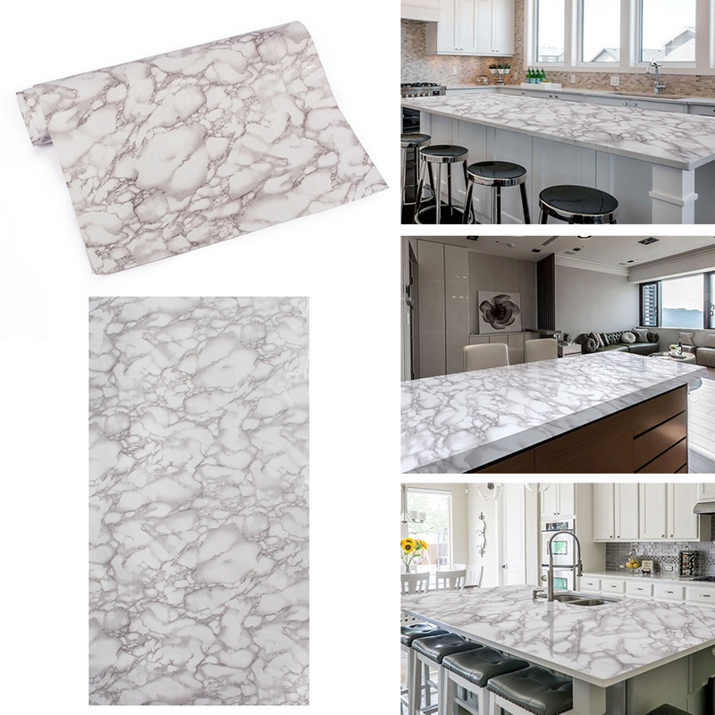 2019 Small Size Wall Paper Marble Grain Vinyl Film Adhesive Sticker Decals Wrap Counter Top PVC Film for Kitchen Table(China)