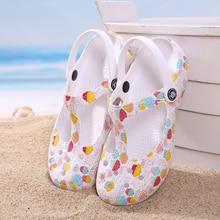 Mules sabots de plage pour femmes, pantoufles imprimées, sandales de plage respirantes, chaussures de gelée mignonnes, chaussures de jardin