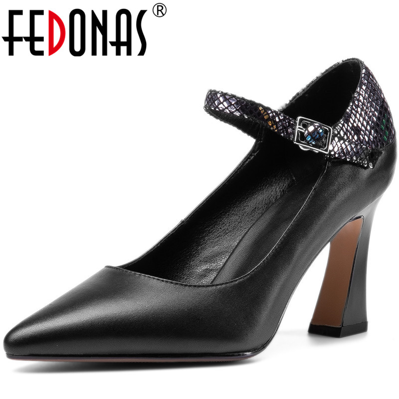 FEDONAS New Women Office Night Club High Heels  Pumps Spring Summer Point Toe Shoes Elegantslip On Genuine Leather Shoes Woman