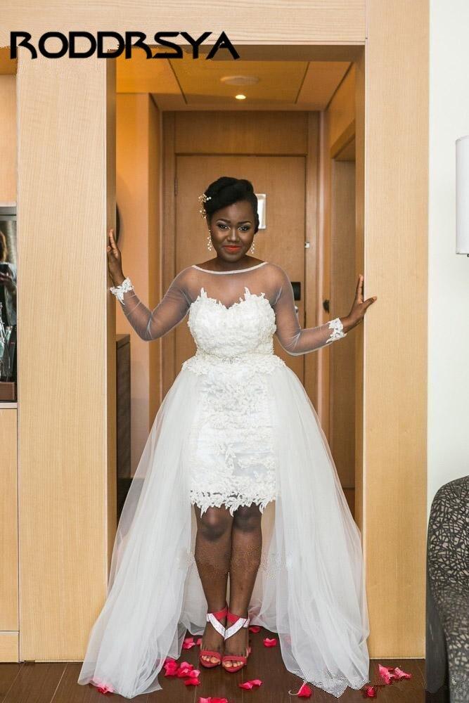 RODDRSYA Transparente Long Sleeves African Short Wedding Dress With Detachable Train Lace Applique Beach Boho Bridal Gowns Plus