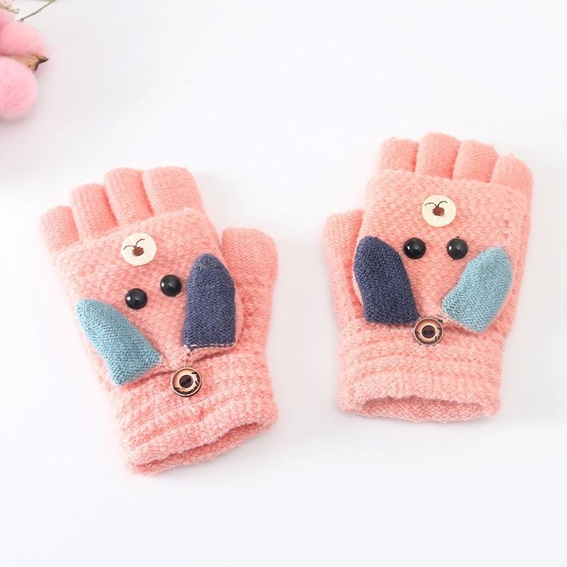 Милые детские вязаные перчатки с медведем Зимние теплые детские перчатки с половинкой пальцев для мальчиков и девочек с откидной крышкой мягкие детские варежки для От 3 до 10 лет - Цвет: Pink