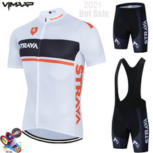 White STRAVA Cycling Jerseys Set 2021 Summer Short Sleeve Bicycle Cycling Clothing Classic Black Men Ropa De Ciclismo Breathable