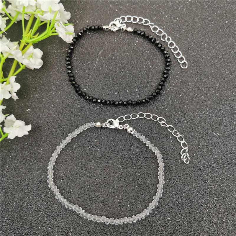 New Bohemian Black White Glass Beads Anklets Bracelets For Women Gold Silver Color Ankle Bracelet On Leg Beach Foot Jewelry 2020
