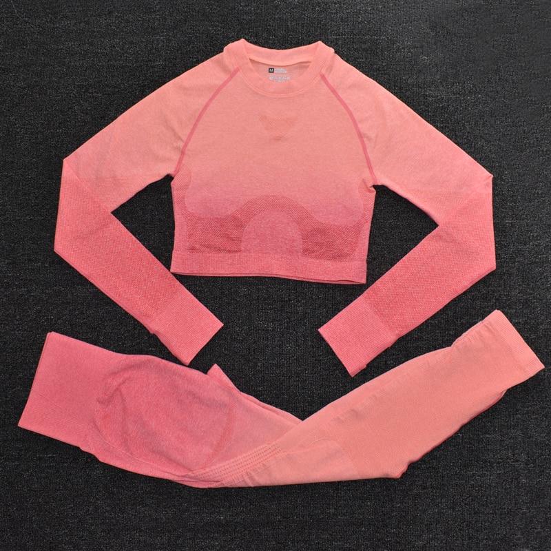 ShirtsPantsOrange - Women's Sportwear Seamless Fitness Gradient Yoga Set