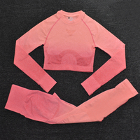 ShirtsPantsOrange - Women's Sportwear Seamless Fitness Gradient Yoga Set