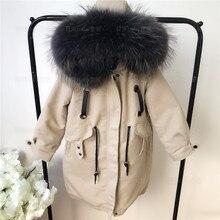 Xlong/ветрозащитные куртки с натуральным мехом для маленьких девочек теплые парки с хлопковой подкладкой и кроличьим мехом Зимние Пальто с воротником и капюшоном из натурального меха для мальчиков