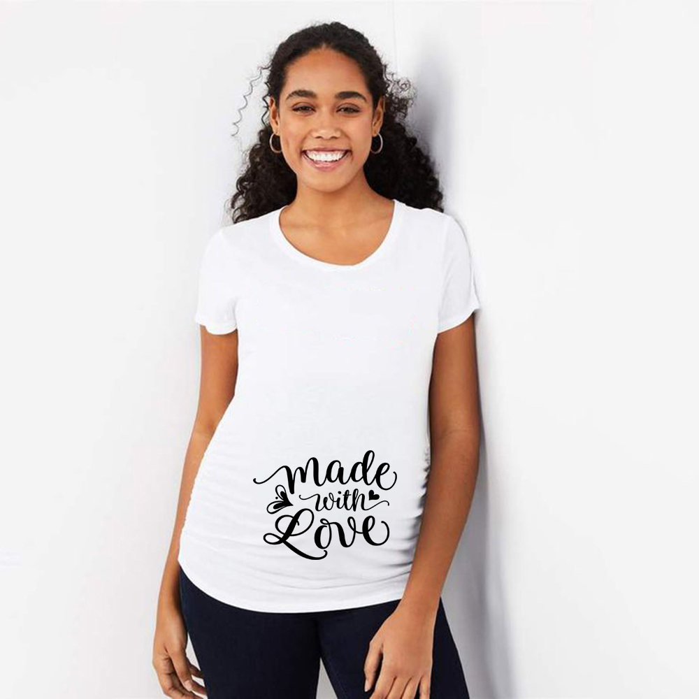 Made with Love Funny Maternity T-shirt Plus-size Pregnancy Short Sleeve T Shirt Trendy Mom Pregnant Woman Fashion Casual Tees