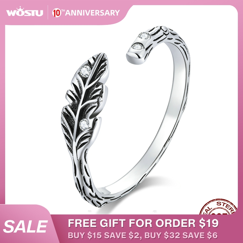 WOSTU Genuine 925 Sterling Silver Spring Leaf Rings Adjustable Size Finger Wedding Ring Fashion Silver 925 Jewelry Gift CQR639