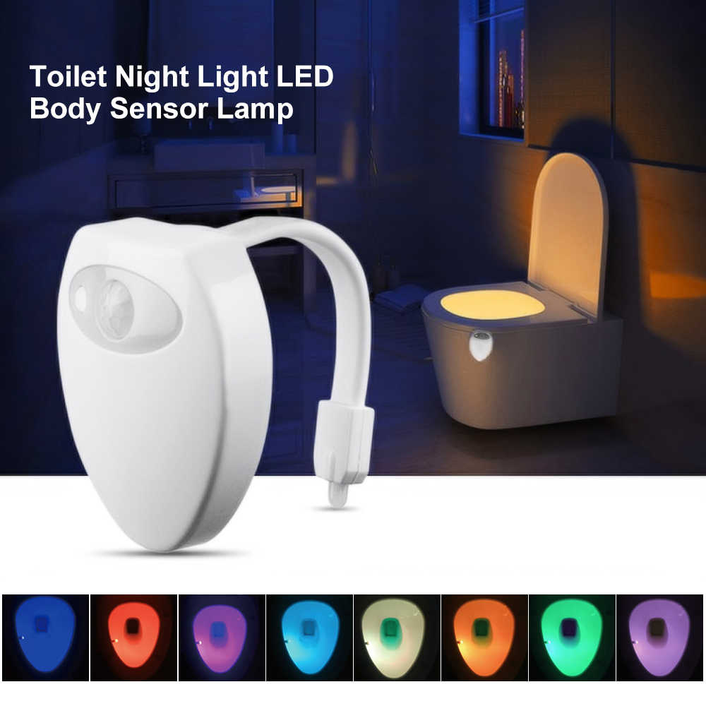 LED Toilet Light Smart human Motion Sensor Lamp Bathroom Night Light Automatic Activated Waterproof 8 Color Toilet Lights