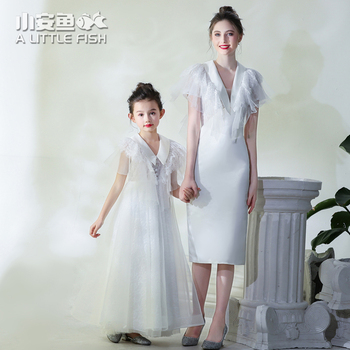 Mother Daughter Wedding Dress Lace Dinner Dress Evening Elegant High-end Model Show Dres Formal Clothing Family Matching Clothes