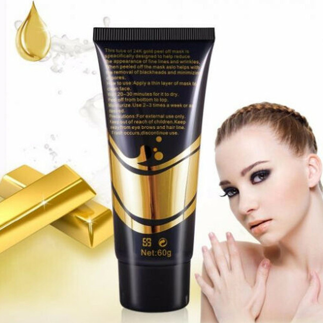 24K Gold Collagen Face Mask Anti Aging Remove Acne Wrinkle Whitening Lifting Smooth Tear Peel Off Masks Skin Care 60g 5