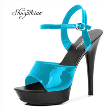 Colorful Sandals High-Heels Party-Shoes Platfrom Sexy Luxury Patchwork Shuzhumiao Red
