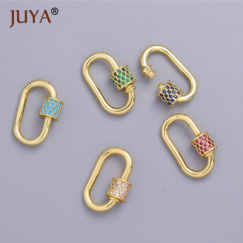 2020 New style Colourful enamel Screw on spiral carabiner clasp for jumbo metal chain,luxuary necklace bracelet jewelry making supplies