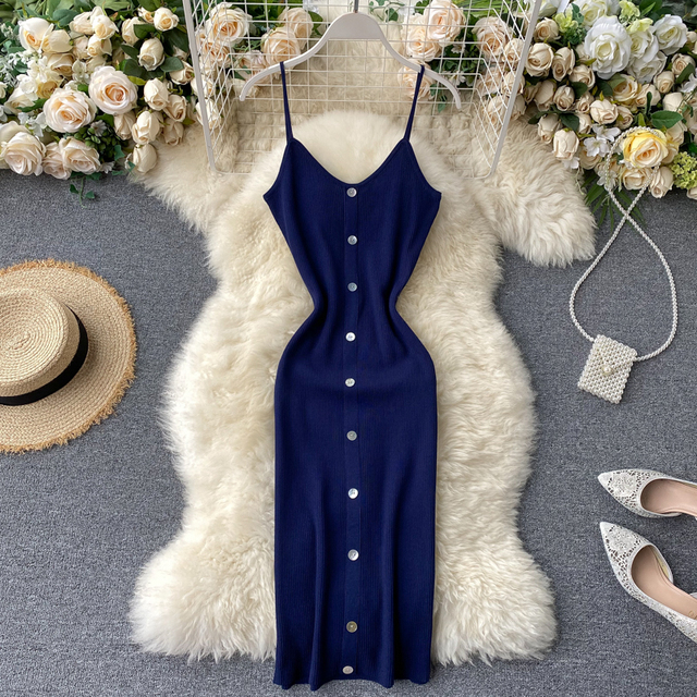 Teeuiear v neck button Slim Summer sexy Knitted Bodycon midi Dress Women Party spaghetti strap casual club knee length dress