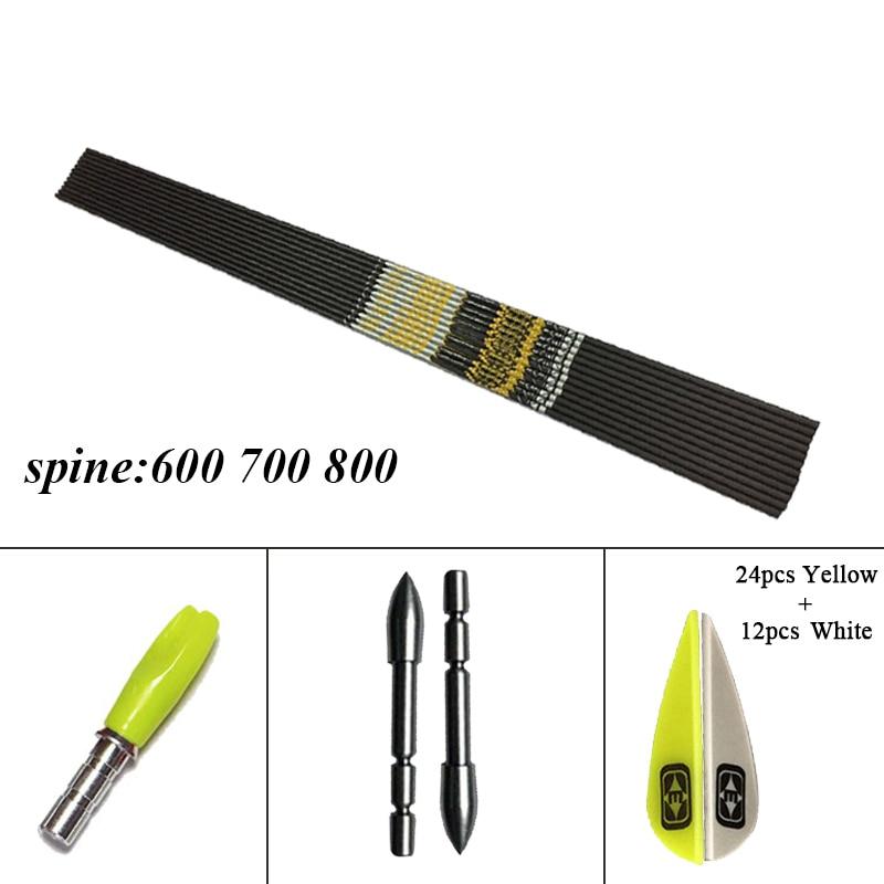 6 pcs flecha de carbono puro eixo id4 2mm espinha 600 700 800 diy acessorios seta