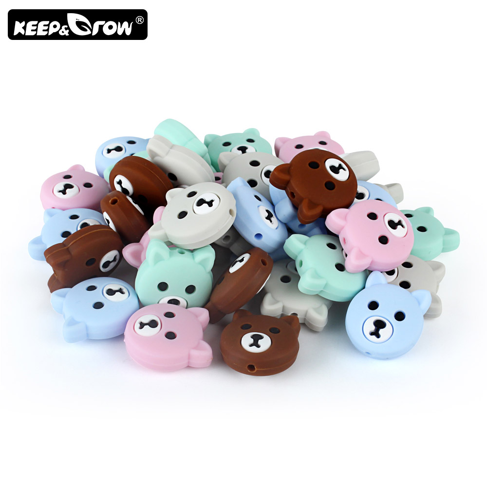 Keep&Grow 5pc Mini Silicone Bear Beads Food Grade Baby Teether  DIY Necklace Silicone Pearl BPA Free Teething Toys Baby Products