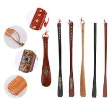 Прочный Винтаж древесины длинный металлический рожок для обуви