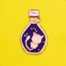 Lovely Cat Brooch Starry Sky Bottle Badges on Backpack Badge Collar Enamel Pins Clothes Lapel Pin Badges for Clothes Accessories