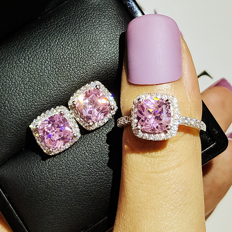 925 Sterling Silver cushion cut zircon Jewelry set Engagement ring stud earring for women gift size 11,12,13 J1099-pink(China)
