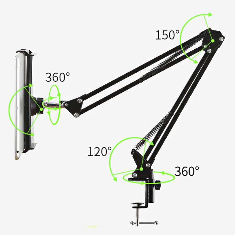 Image 4 - Metal Long Arm Tablet Holder Stand Mobile Phone Support For iPad Air Mini Bed/Desk Clip Bracket For 12 to 18cm/10cm Tablet PhonePhone Holders & Stands   -