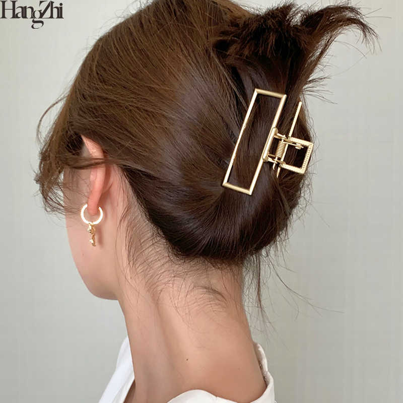 HangZhi 2020 New Geometric Hollow Hair Claw Clamps Gold Color Metal Makeup Hair Crab Star Shell Shape Hair Clip Hair Accessories